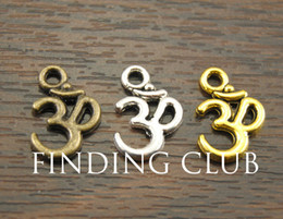 Wholesale Ohm Jewelry - Wholesale-Free Shipping! 50 pcs Metal Alloy OM Aum Ohm Mantra Sign Charm Pendant 15x10mm Fit Jewelry Making