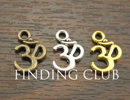 Wholesale Aum Ohm - Wholesale-Free Shipping! 50 pcs Metal Alloy OM Aum Ohm Mantra Sign Charm Pendant 15x10mm Fit Jewelry Making