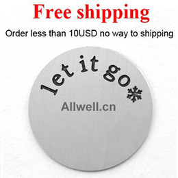 Wholesale Large Plates For Floating Locket - Wholesale-Free shipping Stainless Steel floating plates LARGE SILVER let it go snowflake of Frozen theme song for LIVING locket 30mm
