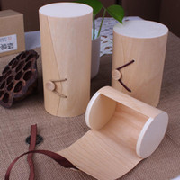 Wholesale- Natural Birch Wood Box For File Stationery Box Cir...