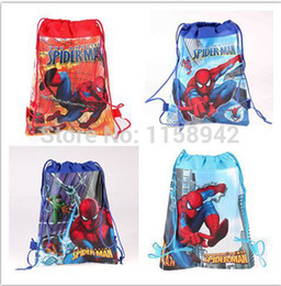 Wholesale Spiderman Kids Bags - Wholesale-STOCKING Free Shipping new 20pcs spiderman Kids Drawstring Backpack Bags,Shopping School Traveling GYM bags,35*27cm