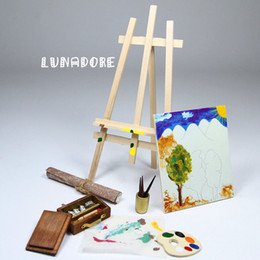 Wholesale Mini Doll Houses - Wholesale-Easel Painting And Tools Pigment Canva Brush Set Miniature For Re-ment Orcara Miniature Toys Dolls Accessories Mini Doll House