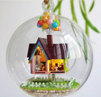 Wholesale Miniatures Diy - Wholesale-B006 DIY Glass Ball Doll House Flying house adventure wood model houses dollhouse miniature toy kit free shipping