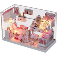 Wholesale Dream Puzzles - Wholesale-DIY Doll House With Furniture Handmade Wooden House diy Birthday Gifts 3D Puzzles For Adults Lovers and Childrens Dream House