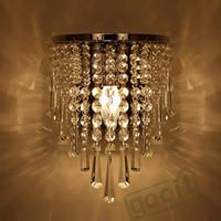modern ceiling art 2018 - Wholesale-Modern Crystal Chandelier Wall Light Lighting Fixture 220V E14 LED Ceiling Lights