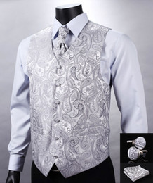Wholesale Wedding Suit Vests For Men - Fall-VE12 Silver Gray Paisley Top Design Wedding Men 100%Silk Waistcoat Vest Pocket Square Cufflinks Cravat Set for Suit Tuxedo