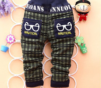 Wholesale Eye Jeans - Wholesale-2015 new autumn and winter infants fashion toddler eye baby boys pants Korean children jeans plaid stitching trousers kids Denim