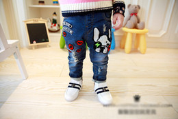 Wholesale Baby Girl Footed Pants - Wholesale-2015 Hitz Korean Children's pants baby child dog feet jeans for girls and boy jeans 2-7 years