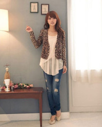 Wholesale Leopard Shrug - Wholesale-Sexy Women Sexy Lovely Leopard Print Double Breast Shrug Jacket Top Brown