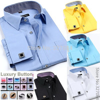 Wholesale Silver Purple Cufflinks - Wholesale-Fashion mens cufflink shirts High Quality long sleeve french cuff dress shirt Boss men Cufflinks free Plus size 4XL