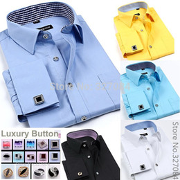 Wholesale French Mens Fashion - Wholesale-Fashion mens cufflink shirts High Quality long sleeve french cuff dress shirt Boss men Cufflinks free Plus size 4XL