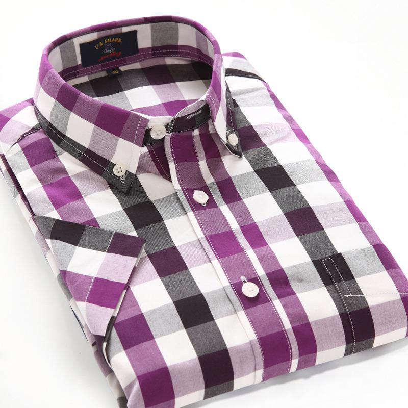 Wholesale-Summer 100% Cotton Breathable Purple Plaid Shirt Men ...