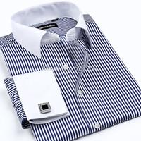 xxxxl gratis al por mayor-Venta al por mayor-Nuevo 2015 de alta calidad para hombre Camisas de diseñador de la marca de moda de negocios informal camisa de vestir con gemelos franceses Envío Gratis XXXXL
