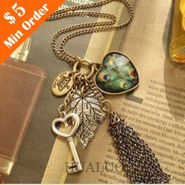 Wholesale Long Chain Feather Necklace - Wholesale-2015 Wholesale Fashion Women Vintage Long Sweater Chain Love Peacock Feather Leaves Key Tassel Necklace N200