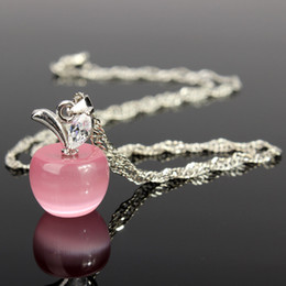 Wholesale Diamant Necklace - Wholesale-Fashion Woman Girl Jewelry Silver Chain Clear Pink Opal Apples Necklace Pendants Crystal Faux Diamant Lovely Necklaces Hotting