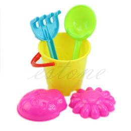 Wholesale Sand Buckets Beach Toys - Wholesale-Hot Sale Tiny Beach Sand Toys Tools Bucket Set For Toddler Kids Children New Free Shipping