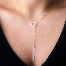 Wholesale Circle Necklace Shop - Wholesale fashion chain pinioning brief simple metal circle short design Pendant necklace enjoy best price in our shop