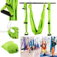 yoga swing al por mayor-Al por mayor-alta resistencia descompresión Hamaca Inversión Trapecio Anti-Gravedad Tracción Aérea Yoga Gimnasio Columpio Colgante Verde Envío gratis