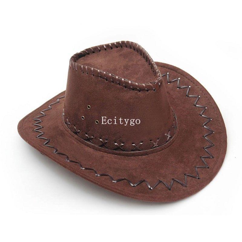 Wholesale-6x Fashion Cowboy Hat Suede Look Wild West Fancy Dress ... 69f88344e151