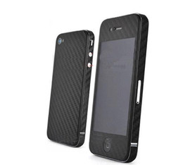 Wholesale Iphone 4s Carbon Fiber Stickers - Wholesale-2pcs lot Full body Carbon Fiber style Protective Skin Sticker for iPhone 4 4S Free shipping Black