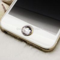 яблоко алмазная наклейка оптовых-Wholesale-12pcs Acrylic Rhinestone Stickers cabochon Bling Diamond home button sticker for   crystal 5 4S 4 4G 3GS 3G PT9006
