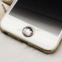 acryl diamant-tasten großhandel-Wholesale-12pcs Acrylrhinestone-Aufkleber Cabochon Bling Diamantausgangsknopfaufkleber für Apple iPhone Kristall 5 4S 4 4G 3GS 3G PT9006