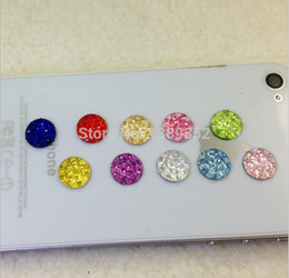Wholesale Crystal Home Button - Wholesale-10pcs lot Crystal Diamond Home Button Stickers for iPhone 5 4 4s 4G iPad iTouch DIY cell phone decoration