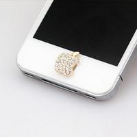 ingrosso decorazione dei diamanti del telefono-All'ingrosso-NO.104 6 più casa pulsante adesivo per iphone 4 / 4s / 5 / 5s iPad, diamante / cartone animato adesivo perla strass telefono decorazione accessorio