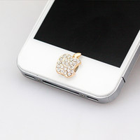 стильные телефонные наклейки оптовых-Wholesale-NO.104 6 plus home button sticker for  4/4s/5/5s iPad,diamond/cartoon sticker pearl rhinestone phone decoration accessory
