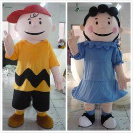 Wholesale mascot human - Wholesale-100% in-kind shooting cartoon character Charlie Brown mascot Lucy mascot adult human mascot costume