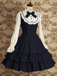 Wholesale Women Victorian Skirt - Wholesale-Halloween Victorian Gothic Lolita Dress Cosplay Long Tiered Layered Women Skirt Any Size free shipping