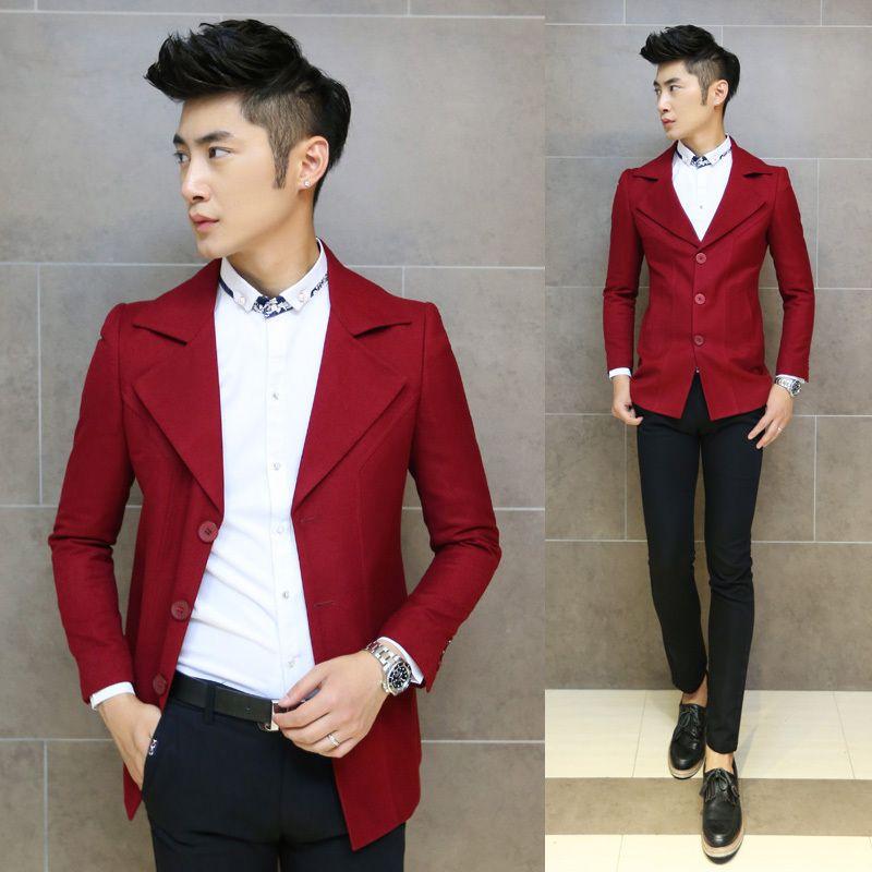 Mens red wool jacket