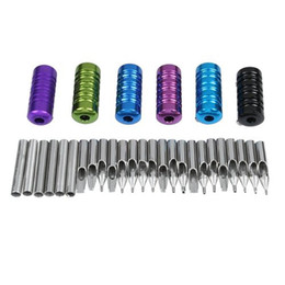 Wholesale Tip 31 - Wholesale-It's hot!31 Stainless Steel Tattoo Tubes Grips Nozzle Tips Kit
