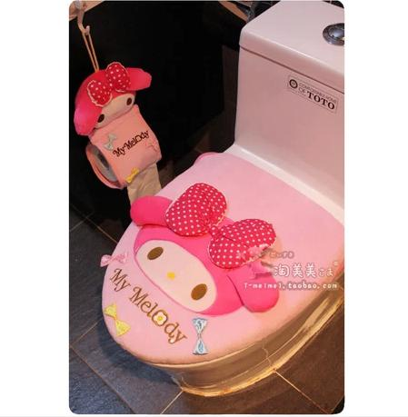 Wholesale-Free shipping new arrival toilet seat toilet two piece set My Melody plush potty set cartoon pink big bow toilet lid set cover