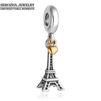 Atacado-Autêntico 925 Sterling Silver Eiffel Tower Charms Fit Pandora Bracelets Dangle 14K Gold Plated Heart Charm Pingente Jóias Er409