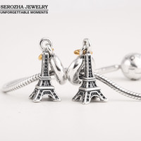 Wholesale Pandora Eiffel - Wholesale-Authentic 925 Sterling Silver Eiffel Tower Charms Fit Pandora Bracelets Dangle 14K Gold Plated Heart Charm Pendant Jewelry Er409