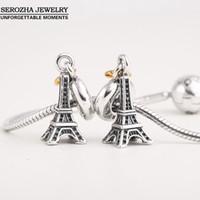 Wholesale Pandora Eiffel Tower Charm - Wholesale-Authentic 925 Sterling Silver Eiffel Tower Charms Fit Pandora Bracelets Dangle 14K Gold Plated Heart Charm Pendant Jewelry Er409