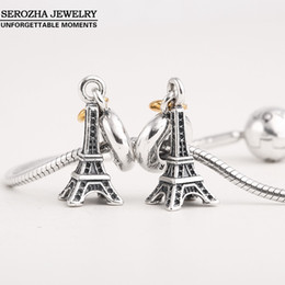 Wholesale Gold Eiffel Tower Charms - Wholesale-Authentic 925 Sterling Silver Eiffel Tower Charms Fit Pandora Bracelets Dangle 14K Gold Plated Heart Charm Pendant Jewelry Er409