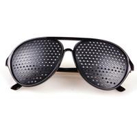 visão olho exercícios venda por atacado-Atacado-Preto Unisex Vision Care Pin buraco Óculos Pinhole Óculos Exercício Visão Melhorar Plástico # 24415