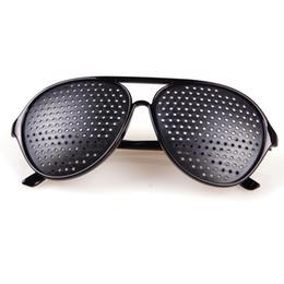 Discount eye exercises improve vision - Wholesale-Black Unisex Vision Care Pin hole Eyeglasses Pinhole Glasses Eye Exercise Eyesight Improve Plastic #24415
