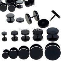 поддельные подрамники для серьги оптовых-Wholesale-1pc Black Fake Ear Plug Stud Stretcher Ear Tunnel Earring Piercing Stainless Steel Body Jewelry 6-14mm