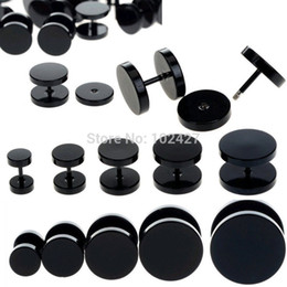Wholesale fake ear stretchers - Wholesale-1pc Black Fake Ear Plug Stud Stretcher Ear Tunnel Earring Piercing Stainless Steel Body Jewelry 6-14mm
