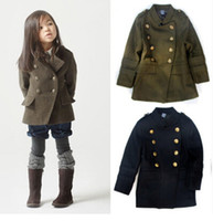 Wholesale Girls Double Breasted Suit Kids - Wholesale-2015 Children Outerwear&Coat Baby Girls Boys Long Trench Suit Jackets&Coats wool Double-breasted Kids Girl coat Jacket