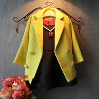 Wholesale winter coats discounts - Wholesale-New store opening Best choice & best discounts winter kids fashion wool blending thick double breasted long coat outerwear