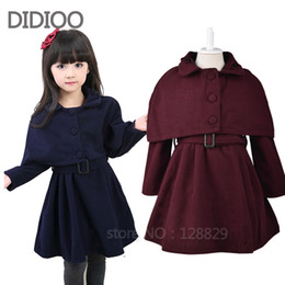Wholesale Baby Puff Jackets - Wholesale-girls clothes 2015 autumn & winter child jacket baby kids cloak & Coat 2pcs wool outwear for girls children wool coats