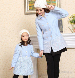 Wholesale Cute Winter Coats For Women - Wholesale-Fashion Family Set Girls and Women Wool & Blends Outwear Coats for Mother Daughter Autmn Winter Clothes, CHH91