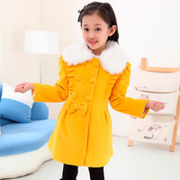 Wholesale Girls Bow Design Coat - Wholesale-New Arrival Brand Design Fashion Big Girls Children Coat Girl's Wool & Blends Woolen Outerwear Kids Clothing Cute Bow