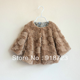 Wholesale Girls Leopard Waistcoat - Wholesale-2015 autumn children's clothing brand girls Fur coats girls cape overcoat leopard small waistcoat 2T-8T outerwear high quality
