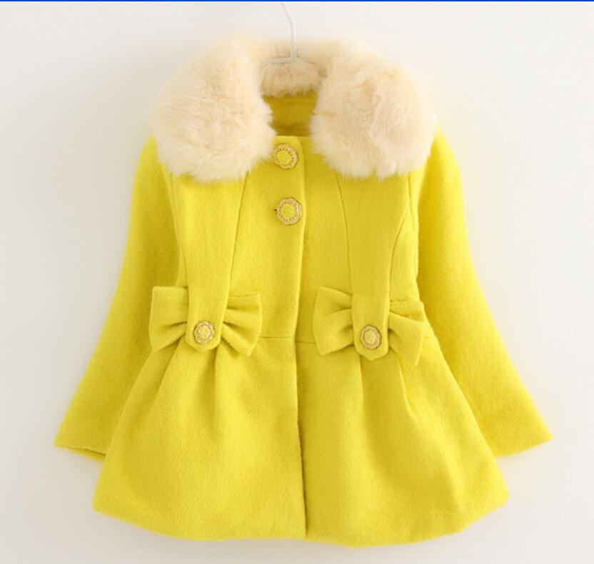 8a812e38c Wholesale Baby Girls Winter Woolen Blends Coat Girls Casual White ...