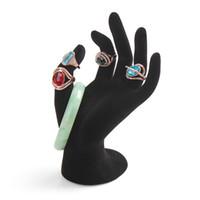 ingrosso collana di resina nera-All'ingrosso-2015 Nuovo 1pcs nero gioielli anello di velluto collana braccialetto appeso display a mano titolare stand mostra cremagliera in resina all'ingrosso